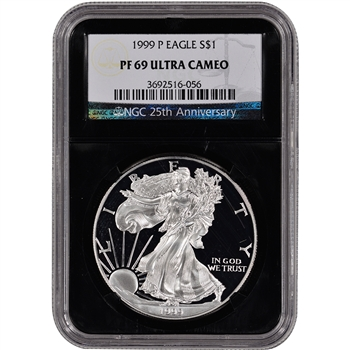 1999-P American Silver Eagle Proof - NGC PF69UCAM - 'Retro' Black Core