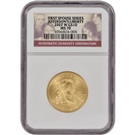 2007-W US First Spouse Gold (1/2 oz) BU $10 - Jefferson's Liberty - NGC MS70