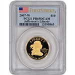 2007-W US First Spouse Gold (1/2 oz) $10 Thomas Jefferson PCGS PR69 First Strike