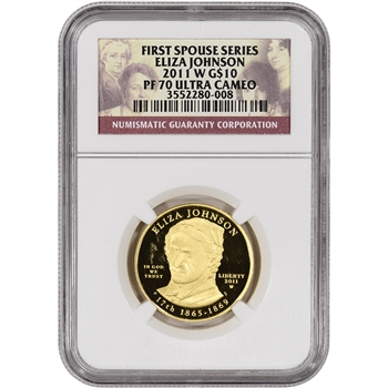 2011-W US First Spouse Gold (1/2 oz) Proof $10 - Eliza Johnson - NGC PF70 UCAM