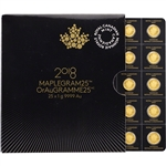2018 25x1 g. Gold Maplegram25 - RCM - Royal Canadian Mint - .9999 Fine in Assay