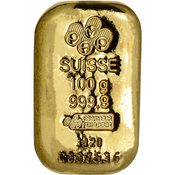 100g PAMP Suisse Poured 999.9 Fine Gold Bar w/ Assay