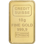 10 gram Gold Bar - Credit Suisse - Statue of Liberty 999.9 Fine Sealed w/ Assay