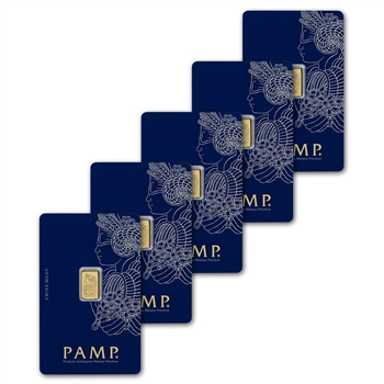 Five (5) 1 gram Gold Bar - PAMP Suisse - 999.9 Fine in Assay