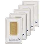 1 oz. Credit Suisse 99.99 Fine Gold Bar 5-Pack in Assay