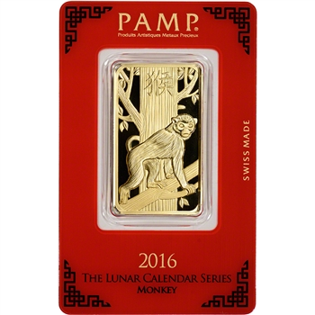 1 oz. PAMP Suisse Year of Monkey 999.9 Gold Bar in Assay