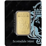 1 oz Gold Bar - Scottsdale Mint - 2018 Lunar Year of the Dog 9999 Fine in Assay