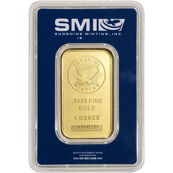 1 oz. Gold Bar - Sunshine Minting - .9999 Fine in Assay