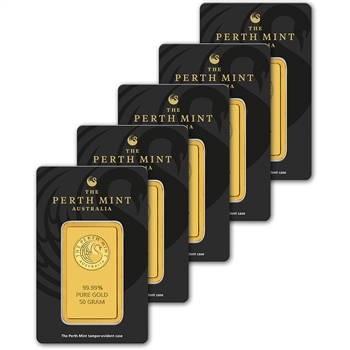 FIVE (5) 50 gram Gold Bar - Perth Mint - 99.99 Fine in Assay