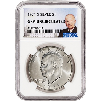 1971-S US Eisenhower Silver Dollar $1 - NGC Gem Uncirculated