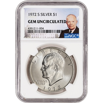 1972-S US Eisenhower Silver Dollar $1 - NGC Gem Uncirculated