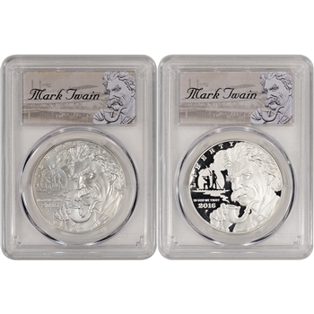 2016 US Mark Twain Commemorative BU & Proof 2-Coin Set - PCGS 70 First Strike