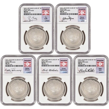 5-pc. 2014 US Baseball BU Silver $1 - Class of '36 - NGC MS70 - Early Releases