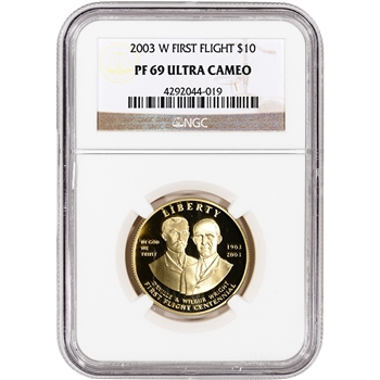2003-W US Gold $10 First Flight Centennial Commemorative Proof - NGC PF69 UCAM