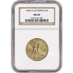 1984-W US Gold $10 Olympic Commemorative BU - NGC MS69