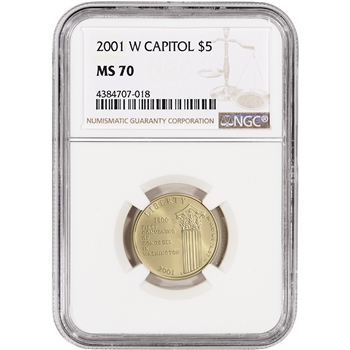 2001-W US Gold $5 Capitol Visitor Center Commemorative BU - NGC MS70