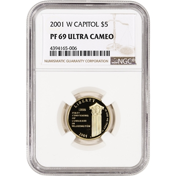 2001-W US Gold $5 Capitol Visitor Center Commemorative Proof - NGC PF69 UCAM
