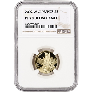 2002-W US Gold $5 Salt Lake City Olympic Commemorative Proof - NGC PF70 UCAM