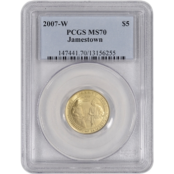 2007-W US Gold $5 Jamestown 400th Anniversary Commemorative BU - PCGS MS70