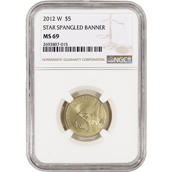 2012-W US Gold $5 Star-Spangled Banner Commemorative BU - NGC MS69