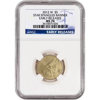 2012-W US Gold $5 Star-Spangled Banner Commemorative BU NGC MS70 Early Releases