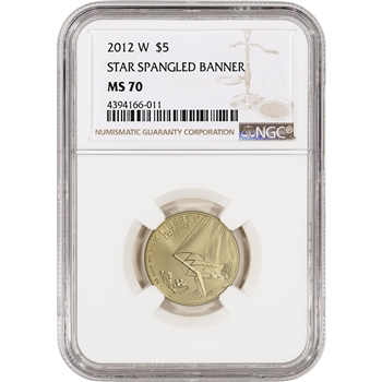 2012-W US Gold $5 Star-Spangled Banner Commemorative BU - NGC MS70