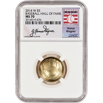 2014-W US Gold $5 Baseball BU - NGC MS70 HOF Label - Honus Wagner