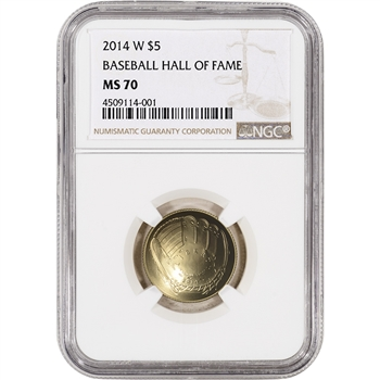2014-W US Gold $5 National Baseball Hall of Fame Commemorative BU - NGC MS70