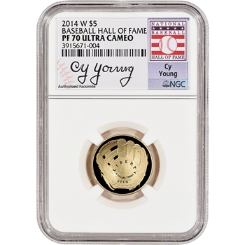 2014-W US Gold $5 Baseball Proof - NGC PF70 HOF Label - Cy Young