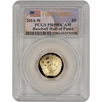 2014-W US Gold $5 Baseball Proof - PCGS PR69 - First Strike - Hall of Fame Label