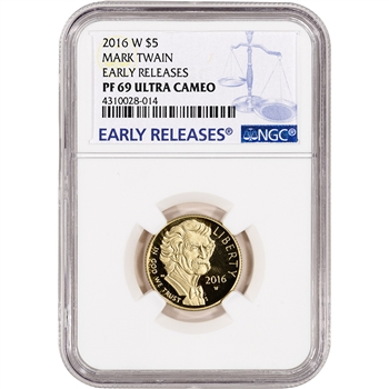 2016-W US Gold $5 Mark Twain Commemorative Proof - NGC PF69 Early Releases