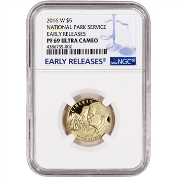 2016-W US Gold $5 National Park Service Commem Proof - NGC PF69 Early Releases
