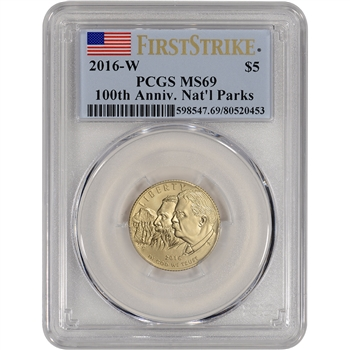 2016-W US Gold $5 National Park Service Commemorative BU PCGS MS69 First Strike