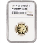1987-W US Gold $5 Constitution Commemorative Proof - NGC PF69 UCAM