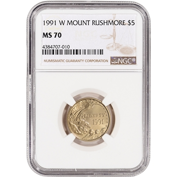1991-W US Gold $5 Mount Rushmore Commemorative BU - NGC MS70