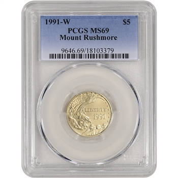 1991-W US Gold $5 Mount Rushmore Commemorative BU - PCGS MS69
