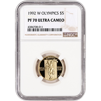 1992-W US Gold $5 Olympic Commemorative Proof - NGC PF70 UCAM