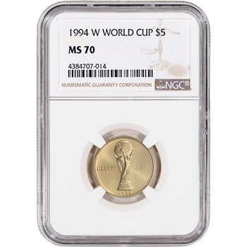 1994-W US Gold $5 World Cup Commemorative BU - NGC MS70