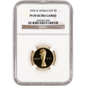 1994-W US Gold $5 World Cup Commemorative Proof - NGC PF69 UCAM