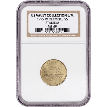 1995-W US Gold $5 Atlanta Olympic Stadium Commemorative BU - NGC MS69