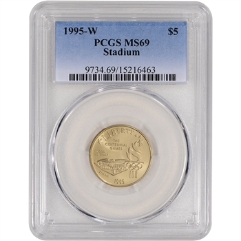 1995-W US Gold $5 Olympic Stadium Commemorative BU - PCGS MS69