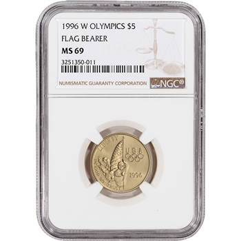 1996-W US Gold $5 Olympic Flag Bearer Commemorative BU - NGC MS69