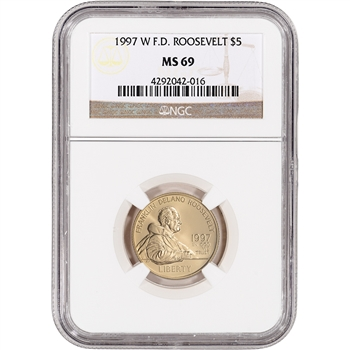 1997-W US Gold $5 Franklin Delano Roosevelt Commemorative BU - NGC MS69