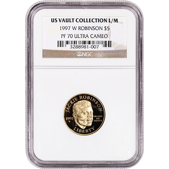 1997-W US Gold $5 Jackie Robinson Commemorative Proof - NGC PF70 UCAM