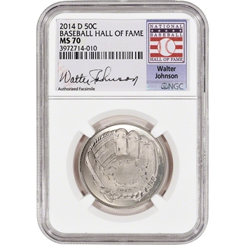 2014-D US Baseball BU Half Dollar 50C - NGC MS70 - HOF Label - Walter Johnson