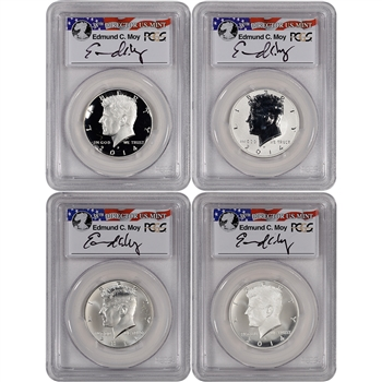 4-pc. 2014 US Kennedy 50th Anniversary Silver 50C Set PCGS 70PL First Strike Moy