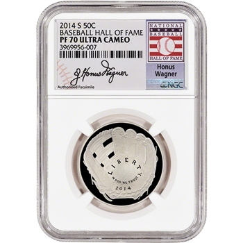 2014-S US Baseball Proof Half Dollar 50C - NGC PF70 - HOF Label - Honus Wagner
