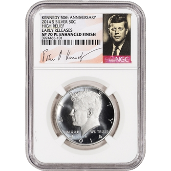 2014-S US Kennedy 50th Ann Silver High Relief 50C - NGC SP70 PL Enhanced ER
