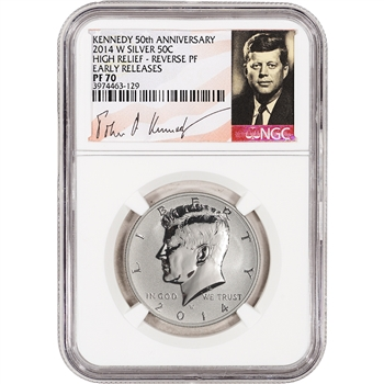 2014-W US Kennedy 50th Ann Silver High Relief 50C - NGC PF70 - Reverse Proof ER