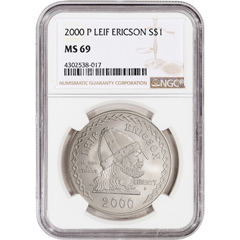 2000-P US Leif Ericson Commemorative BU Silver Dollar - NGC MS69